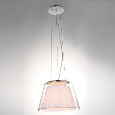 Pendente Bella Iluminação Conico Voluta Tecido Branco Metal Vidro 50x32,5cm 1 E27 110v 220v Bivolt SU002W Quartos Sala Estar