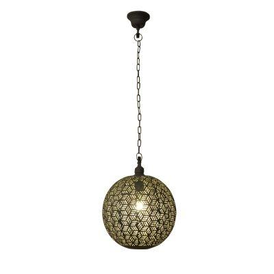 Pendente Bella Iluminação Esfera Diya Suspenso Metal Cobre 38x30cm 1 E27 110v 220v Bivolt PEI0021GCI Sala Estar Saguão
