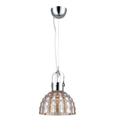 Pendente Bella Iluminação Fuzzy Metal Cromo Vidro Âmbar 14,5x22,5cm 1 E27 110v 220v Bivolt OP047A Saguão Corredores