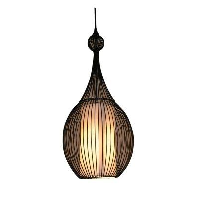 Pendente Bella Iluminação Indian Metal Cupula Tecido Preto Suspenso 58x25cm 1x E27 110v 220v Bivolt GX006 Saguão Sala Estar