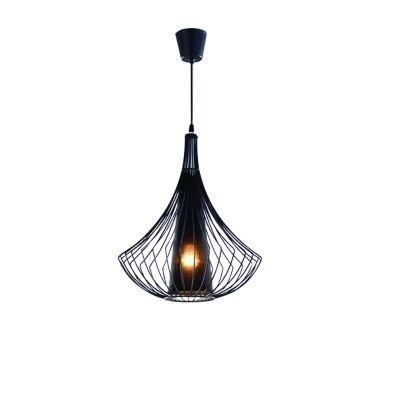 Pendente Bella Iluminação Indian Suspenso Metal Fibra Tecido Preto 50x39cm 1 E27 110v 220v Bivolt GX017 Sala Estar Hall