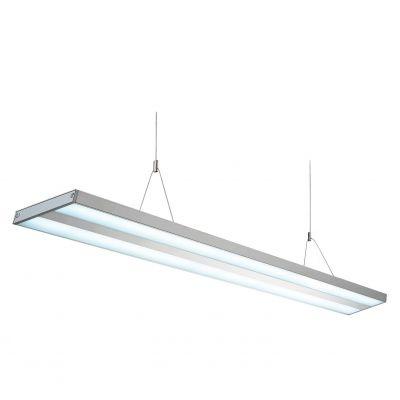 Pendente Bella Iluminação Kalha Policarbonato Metal Fosco 14x60cm 2x 14W 127 Volts SN013A Saguão Sala Estar