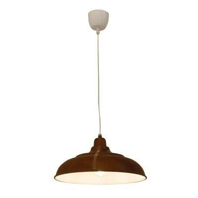 Pendente Bella Iluminação Kanpur Conico Suspenso Metal Marrom 18x35cm 1 E27 110v 220v Bivolt PEI0009MA Sala Estar Saguão