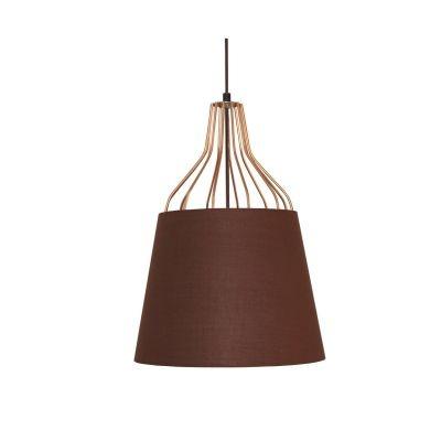 Pendente Bella Iluminação Lan Sino Tecido Marrom Metal Cobre 43,5x32cm 1 E27 110v 220v Bivolt XN007 Cozinhas Balcões