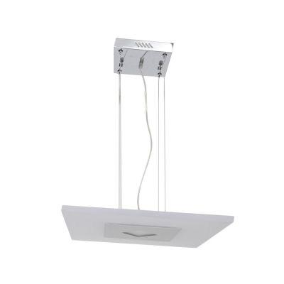 Pendente Bella Iluminação LED Quadrado Metal Escovado Acrílico Branco Ø45cm 1 LED 18W ZU008S Mesa Jantar  Cozinhas