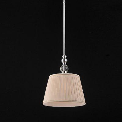 Pendente Bella Iluminação Madison Conico Tecido Creme Metal Cromo 130x30cm 1 E27 110v 220v Bivolt UD020 Quartos Sala Estar