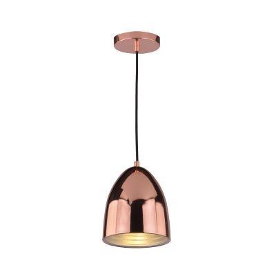 Pendente Bella Iluminação Mezza Suspenso Oval Aço Metal Cobre Ø16cm 1 E27 110v 220v Bivolt SE616A Saguão Cozinhas