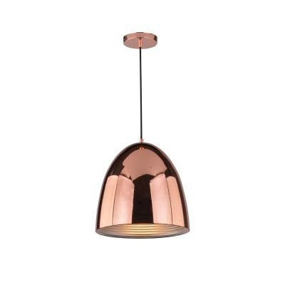 Pendente Bella Iluminação Mezza Suspenso Oval Aço Metal Cobre Ø30cm 1 E27 110v 220v Bivolt SE633A Saguão Cozinhas
