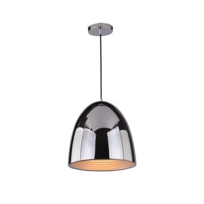 Pendente Bella Iluminação Mezza Suspenso Oval Aço Metal Cromo Ø30cm 1 E27 110v 220v Bivolt SE633C Saguão Cozinhas