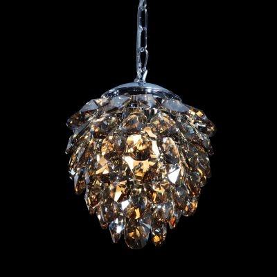 Pendente Bella Iluminação Nut Metal Aço Cristal K9 Âmbar 28x23cm 2 G9 Halopin 110v 220v Bivolt HU2173A Saguão Mesa Jantar