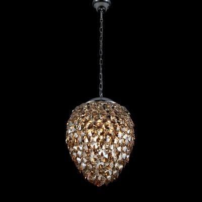Pendente Bella Iluminação Nut Metal Aço Cristal K9 Âmbar 51x40cm 5 G9 Halopin 110v 220v Bivolt HU2174A Saguão Mesa Jantar
