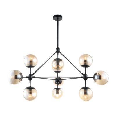 Pendente Bella Iluminação Orbe Moderno 10 Esferas Vidro Metal Preto 57,5x100cm 10 E27 40W OP056 Saguão Sala Estar