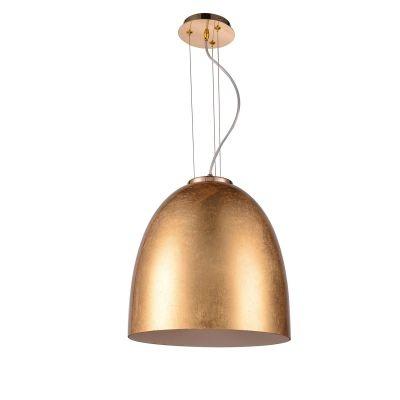 Pendente Bella Iluminação Oval Song Suspenso Metal Vidro Dourado 42x40cm 1 E27 110v 220v Bivolt OD020D Corredores Cozinhas