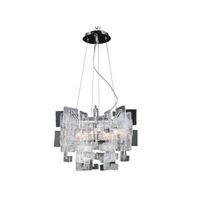 Pendente Bella Iluminação Placa Vidro Metal Cromo Contemporâneo 50x42cm 8 G9 Halopin 110v 220v Bivolt WI0006M Sala Estar Cozinhas