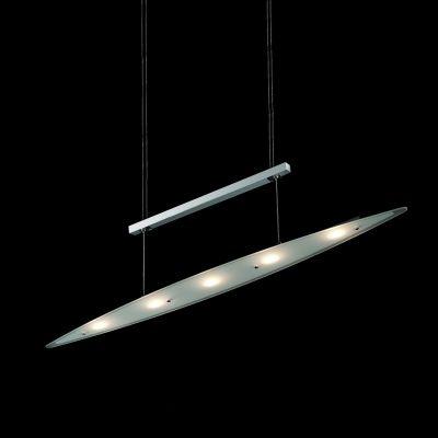 Pendente Bella Iluminação Prancha Metal Cromo Vidro Translucido 8x95cm 5 LED 3W KL004 Mesa Jantar  Balcões