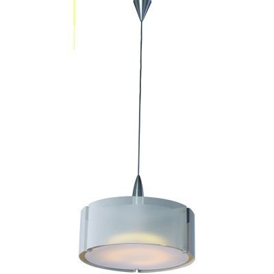 Pendente Bella Iluminação Prata Metal Vidro Acrílico Branco 45x35cm 1 E27 110v 220v Bivolt CO2934 Sala Estar Quartos