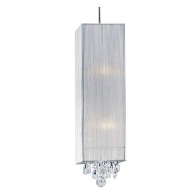 Pendente Bella Iluminação Silk Quadrado Fio Seda Prata Cristal K9 50x18cm 2 E27 110v 220v Bivolt HU2189S Quartos Sala Estar