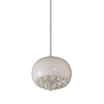 Pendente Bella Iluminação Soho Redondo Vidro Branco Cristal K9 13x22cm 1 G9 Halopin 110v 220v Bivolt HU6222P Sala Estar Corredores
