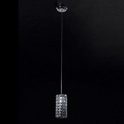 Pendente Bella Iluminação Sonata Tubo Metal Cromo Cristal K9 Ø11cm 1 G9 Halopin 110v 220v Bivolt HO2661P Sala Estar Cozinhas