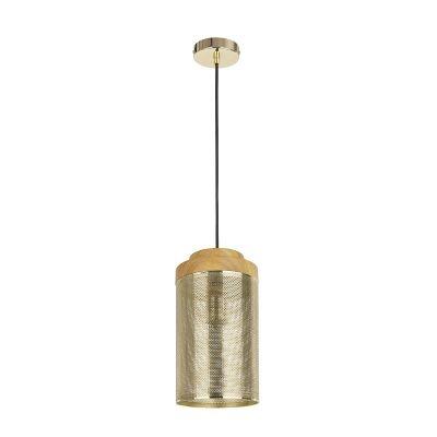 Pendente Bella Iluminação Telinha Tubo Metal Madeira 28x15cm 1 E27 110v 220v Bivolt CI005A Saguão Cozinhas
