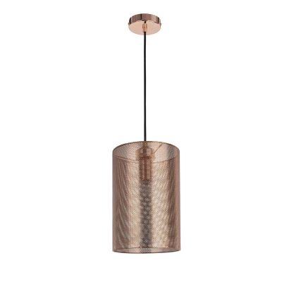 Pendente Bella Iluminação Telinha Tubo Suspenso Metal Cobre 32x20cm 1 E27 110v 220v Bivolt CI002 Saguão Cozinhas