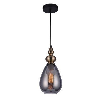 Pendente Bella Iluminação Than Vidro Fumê Suspenso Metal Bronze 31x16cm 1x E27 40W 110v 220v Bivolt FO006S Balcões Sala Estar
