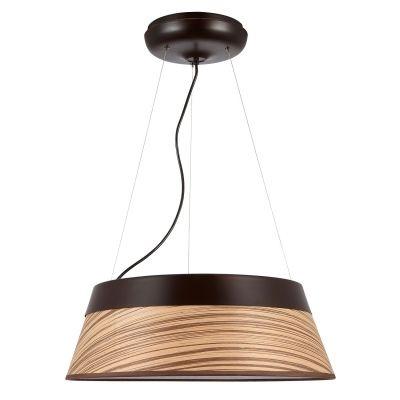 Pendente Bella Iluminação Twiggy Redondo Aço Laminado Madeira 23x69cm 1 LED 65W 110v 220v Bivolt WD010L Sala Estar Quartos