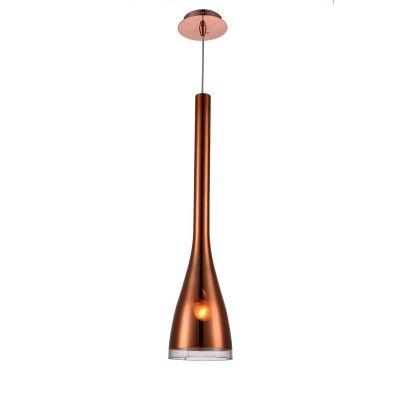 Pendente Bella Iluminação Suspenso Dart Sino Metal Vidro Cobre 64x15cm 1 E27 110v 220v Bivolt OD017B Mesa Jantar  Saguão