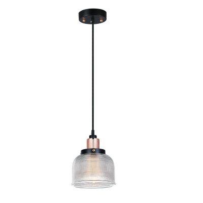 Pendente Bella Iluminação Suspenso Grid Metal Vidro Translucido 11,5x14,5cm 1 E27 110v 220v Bivolt OP045B Saguão Mesa Jantar