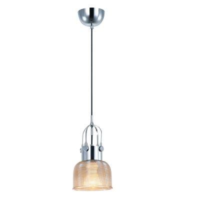 Pendente Bella Iluminação Suspenso Mesh Metal Cromo Vidro Âmbar 11x14,5cm 1 E27 110v 220v Bivolt OP046A Balcões Cozinhas
