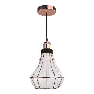 Pendente Bella Iluminação Vitti Funil Metal Rose Vidro Translucido 22x20cm 1 E-27 40W DA004 Sala Estar Corredores
