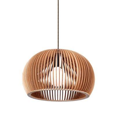 Pendente Bella Iluminação Wood Madeira 1/2 Esfera Aço Cromo Bege 15x22cm 1 E27 110v 220v Bivolt LB001 Balcões Cozinhas