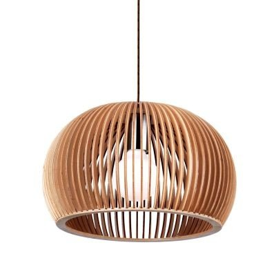 Pendente Bella Iluminação Wood Madeira 1/2 Esfera Aço Cromo Bege 20x30cm 1 E27 110v 220v Bivolt LB002 Balcões Cozinhas