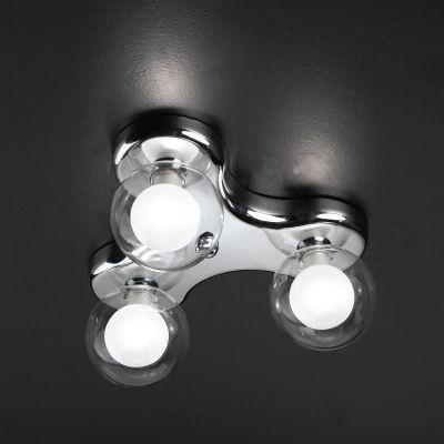 Plafon Bella Iluminação 3 Esferas Vidro Duplo Translucido Leitoso 13x31cm 3 G9 Halopin HO062 Sala Estar Saguão