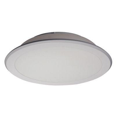 Plafon Bella Iluminação Aço Vidro Redondo Branco Contemporâneo 11x55cm 3 E27 110v 220v Bivolt YT008B Saguão Cozinhas