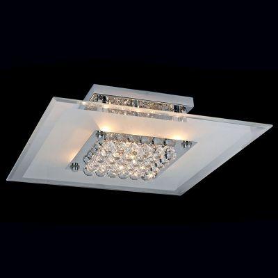 Plafon Bella Iluminação Angra Quadrado Metal Cromo Vidro Cristal K9 10x36cm 4 G9 Halopin CY005S Sala Estar Corredores