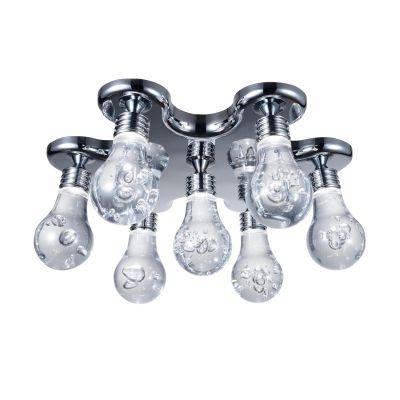 Plafon Bella Iluminação Bolha 7x LED Metal Cromo Acrílico 18x45cm 7 LED 110v 220v Bivolt HO077C Sala Estar Cozinhas