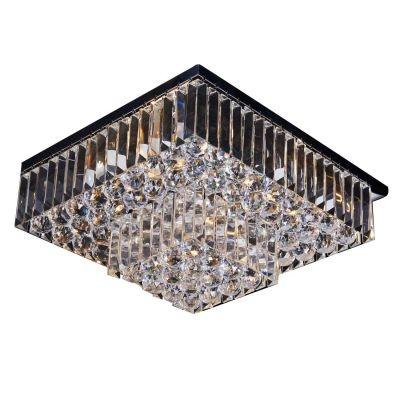 Plafon Bella Iluminação Carre Quadrado Cristal K9 Translucido 24x44cm 5 E14 20w 110v 220v Bivolt AQ016 Saguão Corredores