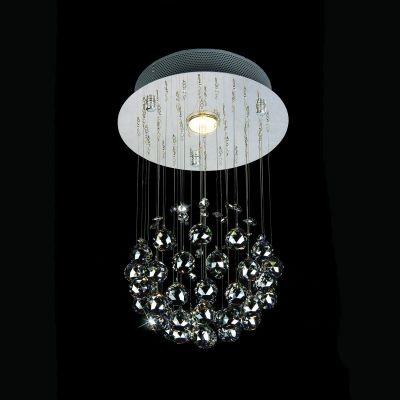 Plafon Bella Iluminação Cascade Aço Cromo Cristal K9 Âmbar 40x25cm 1 GU10 Dicróica JL002A Saguão Corredores