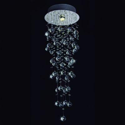 Plafon Bella Iluminação Cascade Cromo Cristal K9 Translucido 100x25cm 1 GU10 Dicróica JL006C Saguão Hall
