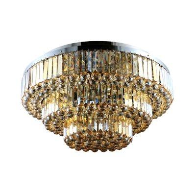 Plafon Bella Iluminação Dijon Metal Cromo Cristal K9 Ambar 38x80cm 13 E14 40w 110v 220v Bivolt AQ008LA Corredores Sala Estar