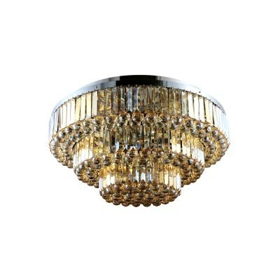Plafon Bella Iluminação Dijon Metal Cromo Cristal K9 Ambar 65x65cm 9 E14 40w 110v 220v Bivolt AQ008SA Corredores Sala Estar