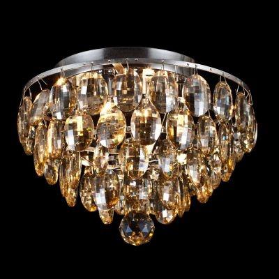Plafon Bella Iluminação Kri Metal Cromo Cristal K9 Gotas 24x27cm 4 G9 Halopin 110v 220v Bivolt HU1101A Saguão Sala Estar