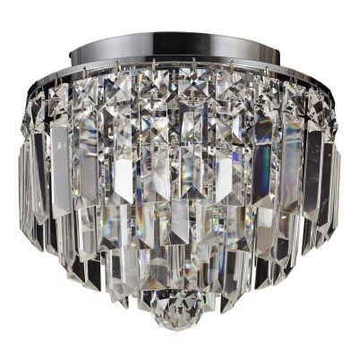Plafon Bella Iluminação Kri Metal Cromo Cristal K9 Lapidado 21,5x25cm 4 G9 Halopin 110v 220v Bivolt HU1100 Saguão Quartos