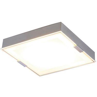 Plafon Bella Iluminação LED Quadrado Metal Prata Vidro Branco 8x25cm 1 LED 12W 110v 220v Bivolt ZU019S Sala Estar Quartos