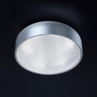 Plafon Bella Iluminação Prata Redondo Metal Acrílico Branco 24x10cm 6 LED 110v 220v Bivolt HO092S Corredores Quartos