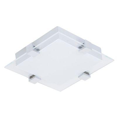 Plafon Bella Iluminação Quadrado LED Vidro Branco Metal Prata 7x30cm 1 LED 12W 110v 220v Bivolt ZU018S Corredores Quartos
