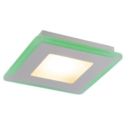 Plafon Bella Iluminação Quadrado RGB Sobrepor Metal Acrílico Branco 7x52cm 1 LED 17W ZU014L Quartos Corredores
