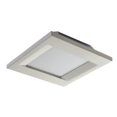 Plafon Bella Iluminação Quadrado Sobrepor Aço Vidro Branco Contemporâneo 8,5x55cm 6 E27 110v 220v Bivolt YT003B Corredores Quartos