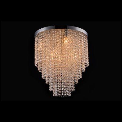 Plafon Bella Iluminação Redondo Niagara Cristal K9 Metal Cromo 37x30cm 5 G9 Halopin 110v 220v Bivolt SS017 Sala Estar Saguão